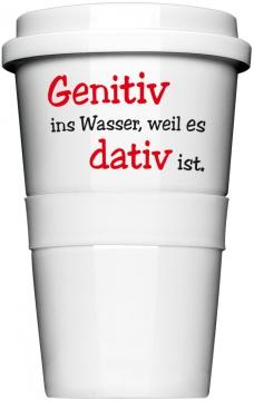 """Coffee-To-Go-Becher """"Genitiv ins Wasser"""""""